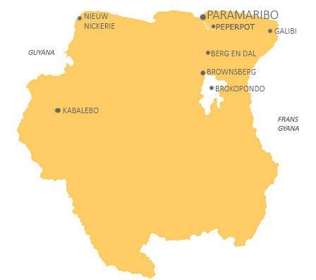 Kaart Suriname Peperpot